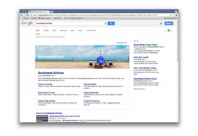 Google е експериментирала с големи банери над резултатите