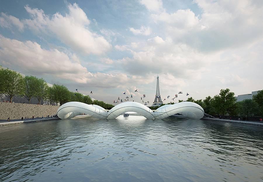 Надуваем мост-трамплин ще изграждат в Париж над Сена
