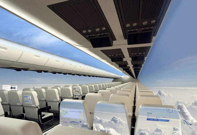Да летиш сред облаците: концепция за самолети без прозорци