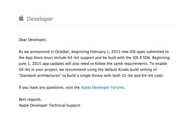 Apple напомня на разработчиците да оптимизират приложенията си за 64-битови архитектури