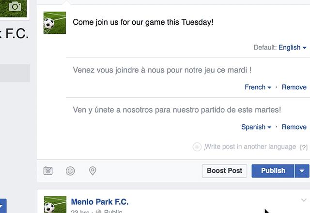 Facebook с функция за публикуване на статуси на различни езици