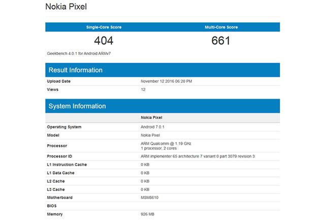 Бъдещ телефон на Nokia, наречен Pixel, се появи в Geekbench с функция за бързо зареждане