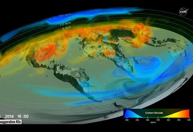 NASA пусна 3D визуализация на движението на въглеродния диоксид в земната атмосфера