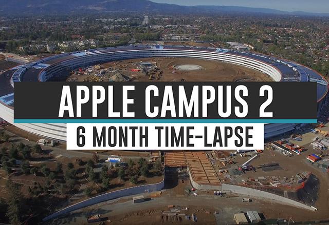 Вижте тази сборна компилация от видеа, показващи етапите на строеж на Apple Campus 2