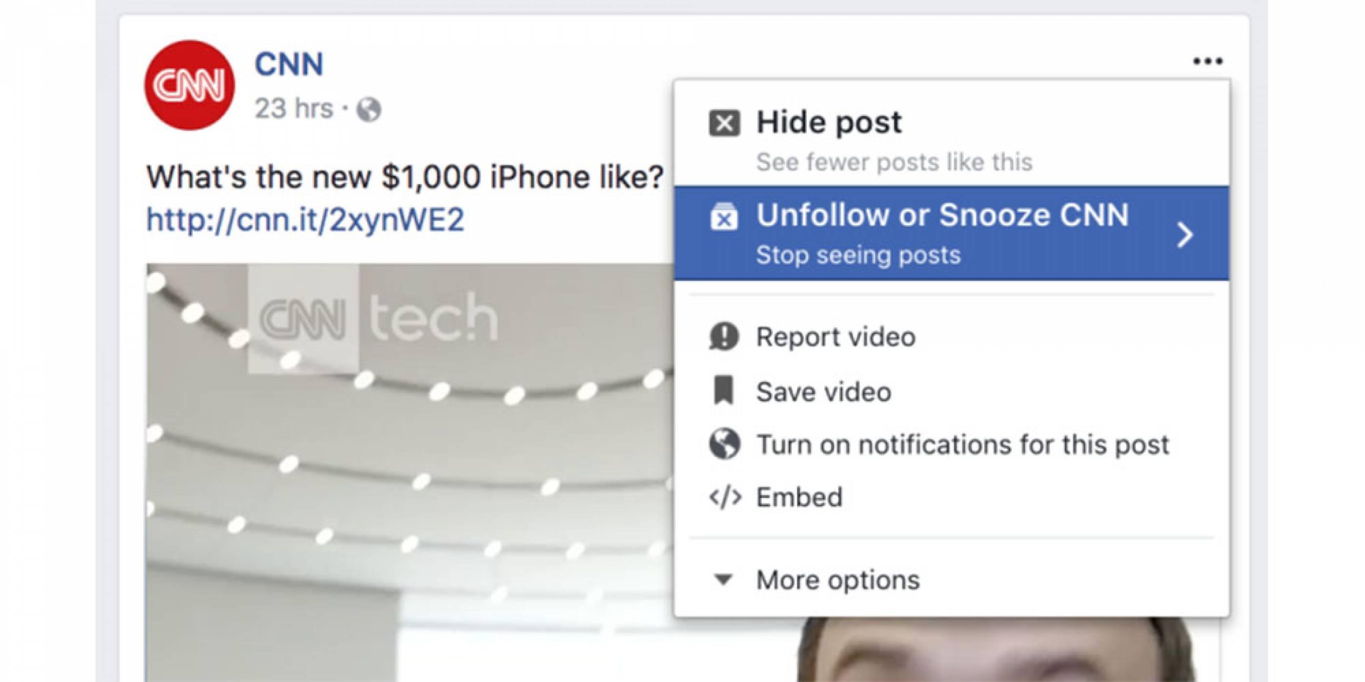 Facebook тества функция за временно заглушаване на потребители, групи или страници