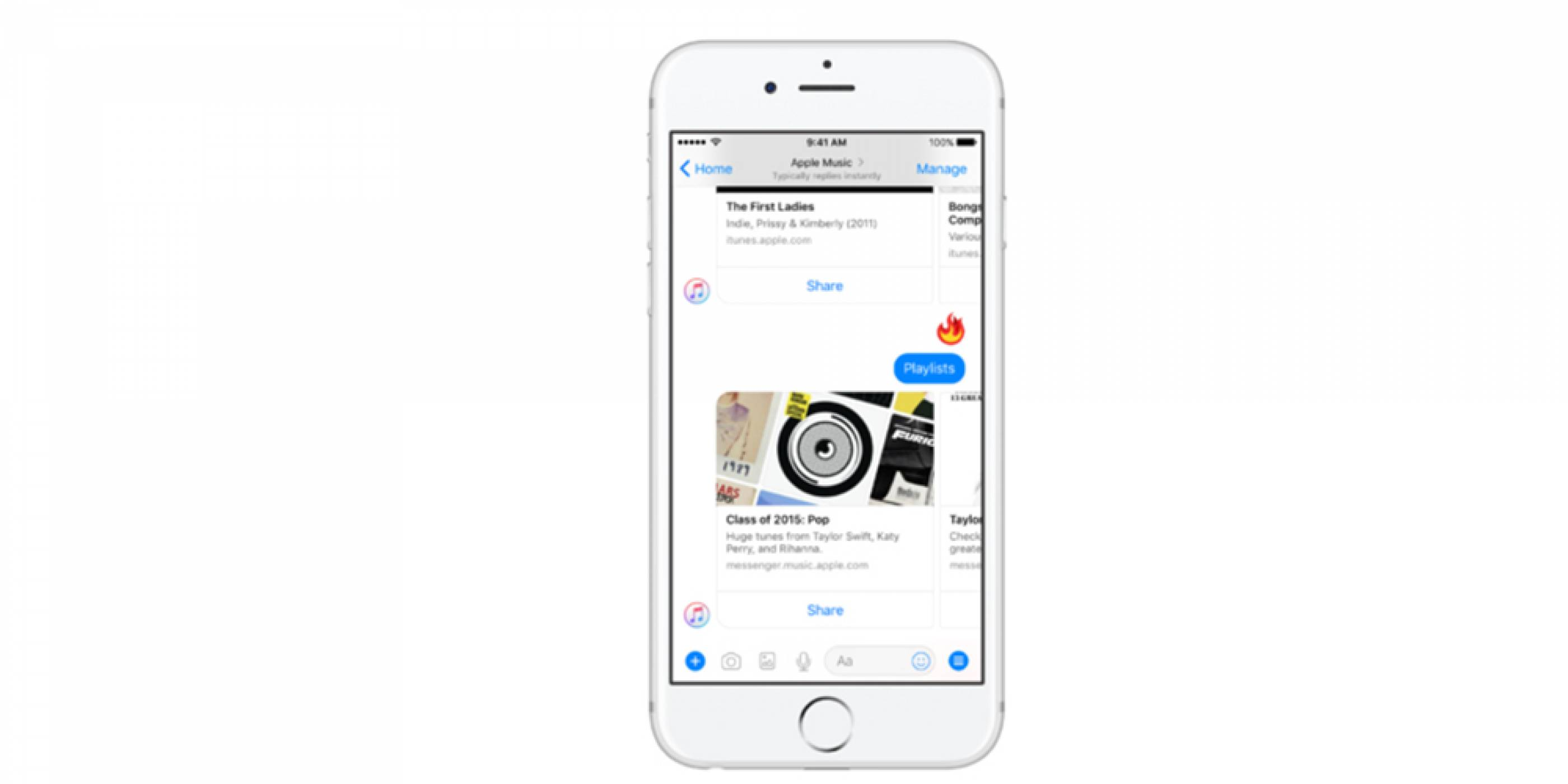 Facebook Messenger се сдоби с Apple Music интеграция
