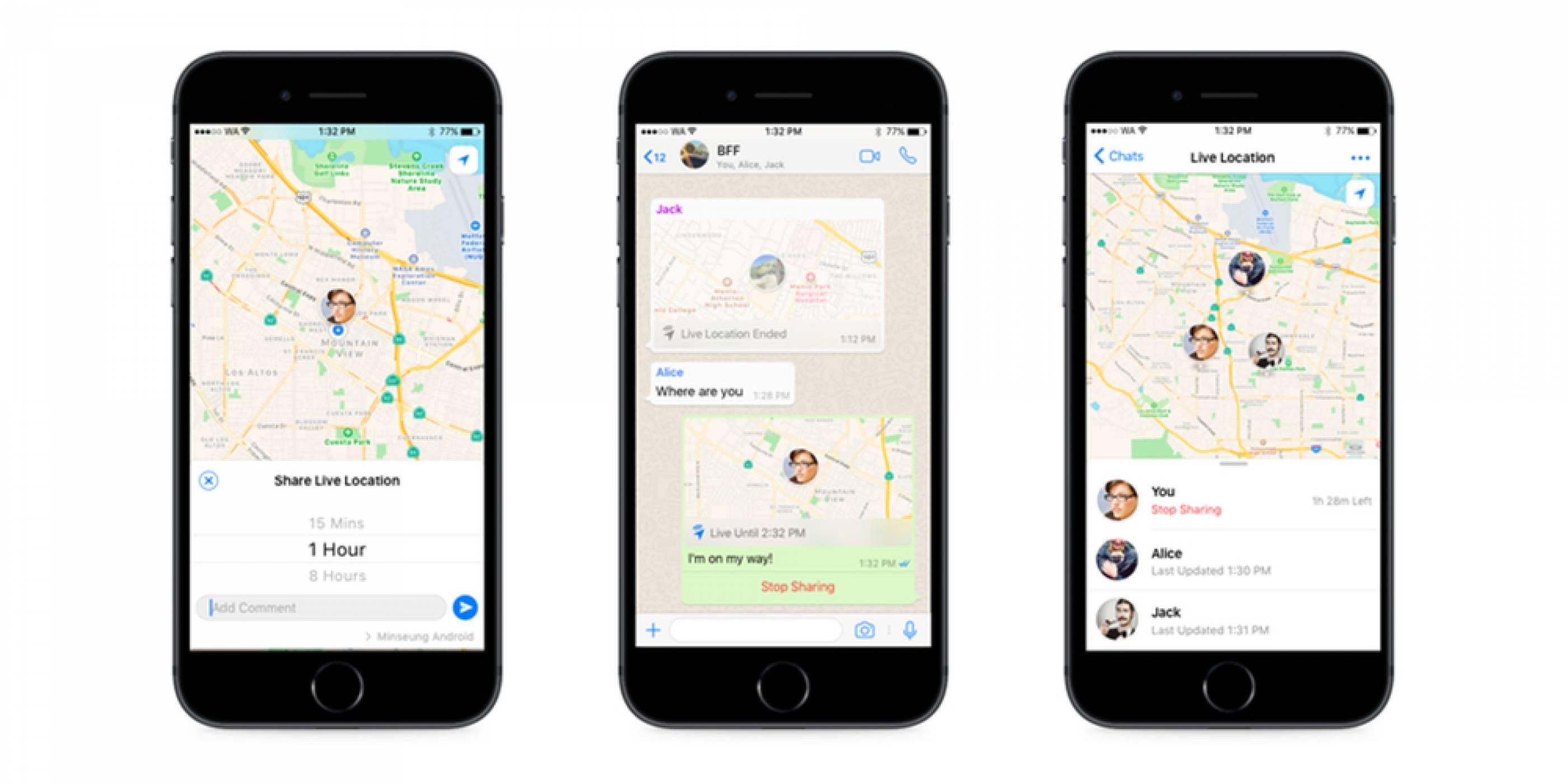 WhatsApp за iOS и Android се сдоби с фунцкия за споделяне на местоположението в реално време