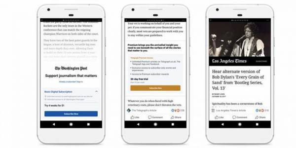Facebook добавя платени абонаменти за Instant Articles за Android
