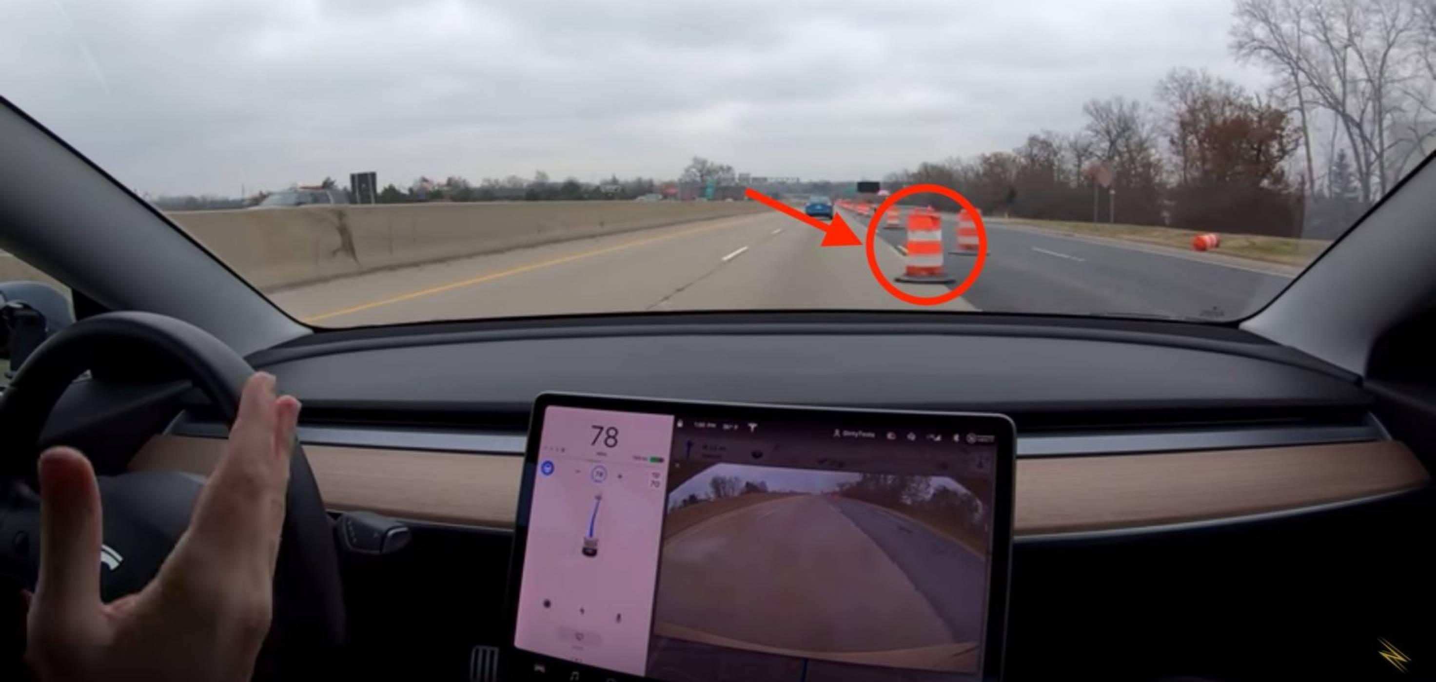 Вижте как Tesla Autopilot финтира ремонтна маркировка (ВИДЕО)