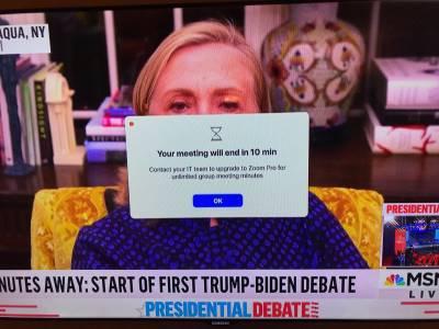 Хилъри Клинтън се изложи в ефир: удари лимита на Zoom