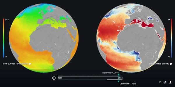 Този поглед от Космоса към климатичните изменения в последните 50 години е мрачен