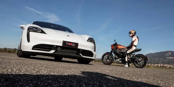 Porsche Taycan vs. Harley-Davidson LiveWire: не пропускайте това зрелище (ВИДЕО)