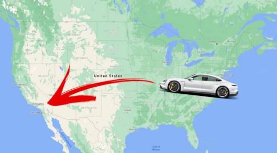 Porsche Taycan изпревари Tesla Model 3 като най-бърза е-кола, пресякла САЩ (ВИДЕО)