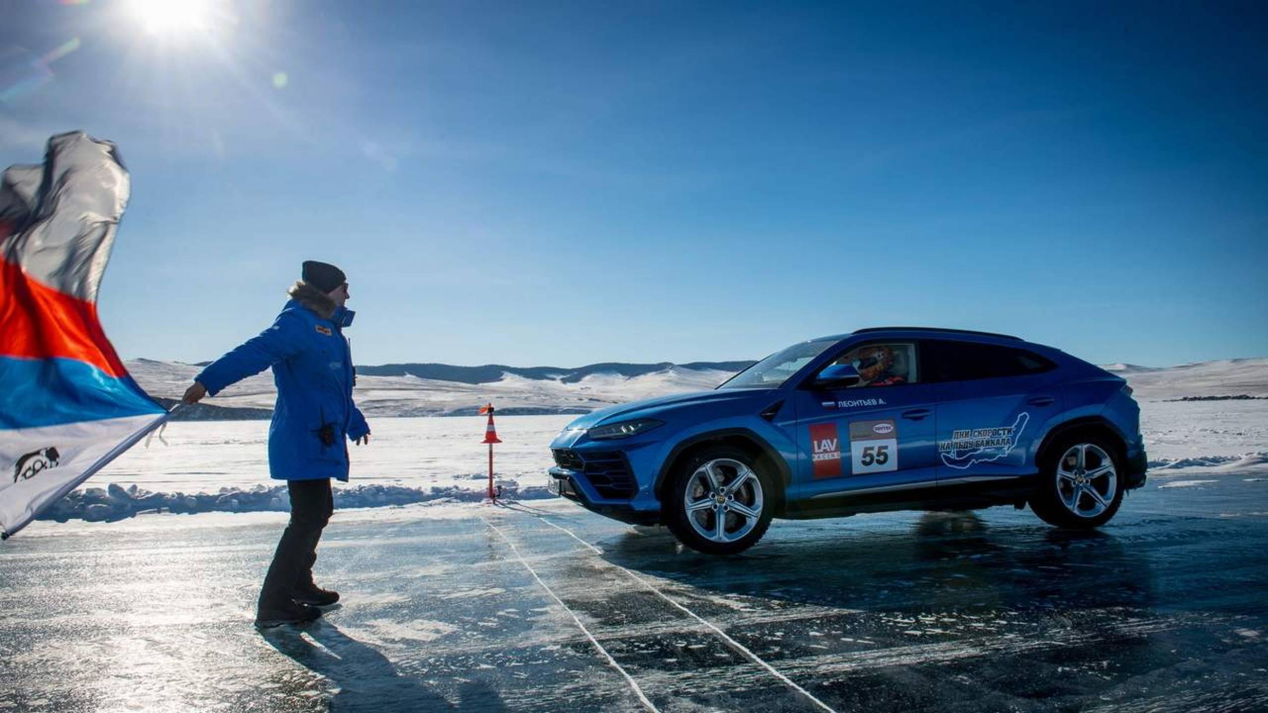 Рекордният пробег на Lamborghini Urus по замръзналото езеро Байкал влезе в историята