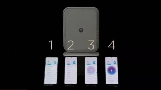Новото зарядно по въздуха на Motorola работи с четири устройства едновременно